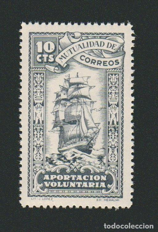 MUTUALIDAD DE CORREOS. APORTACIÓN VOLUNTARIA. 10 CTS. (Sellos - España - Guerra Civil - Beneficencia)