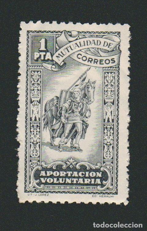 MUTUALIDAD DE CORREOS. APORTACIÓN VOLUNTARIA. 1 PTA. (Sellos - España - Guerra Civil - Beneficencia)