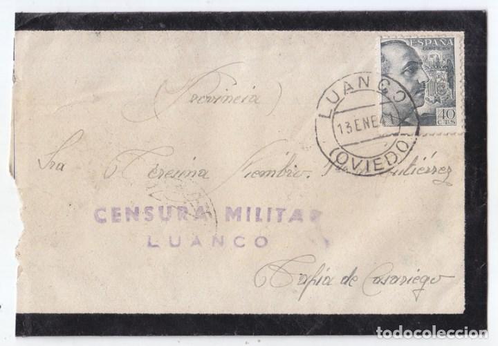 SOBRE CONSERVA LA CARTA. CON CENSURA MILITAR DE LUANCO. ASTURIAS. MUY BUENA ESTAMPACIÓN (Sellos - España - Guerra Civil - De 1.936 a 1.939 - Cartas)