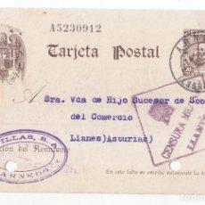 Sellos: TARJETA POSTAL DE ARNEDO. RIOJA A LLANES. ASTURIAS. 1941. CON CENSURA MILITAR DE LLANES.. Lote 75107195