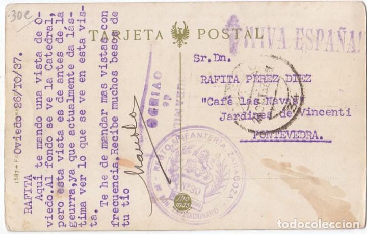 BONITA POSTAL DE OVIEDO. CON FRANQUICIA DEL REGIMIENTO Y CENSURA MILITAR. ASTURIAS. 1937 (Sellos - España - Guerra Civil - De 1.936 a 1.939 - Cartas)