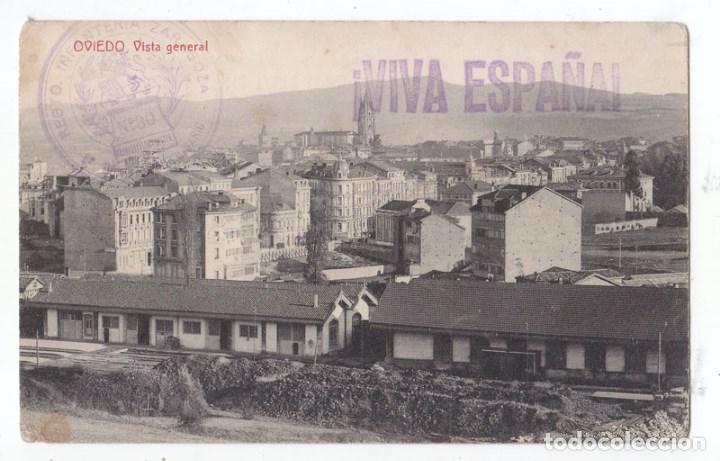 Sellos: BONITA POSTAL DE OVIEDO. CON FRANQUICIA DEL REGIMIENTO Y CENSURA MILITAR. ASTURIAS. 1937 - Foto 2 - 75110791