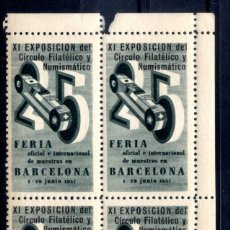 Sellos: ESPAÑA - BLOQUE 4 VIÑETAS XI EXP. CIRCULO FILATELICO EN FERIA DE MUESTRAS BARCELONA 1957 NUEVO**. Lote 75679691