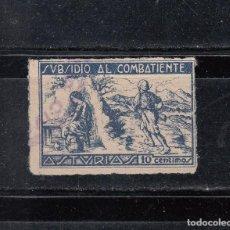 Sellos: ASTURIAS. SUBSIDIO AL COMBATIENTE. 10 CTS.. Lote 75719235