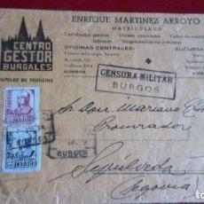 Sellos: FRONTAL CERTIFICADO MATASELLO BURGOS. CENSURA MILITAR. CENSURADO. SEPULVEDA. SEGOVIA. GESTORIA. Lote 75932575
