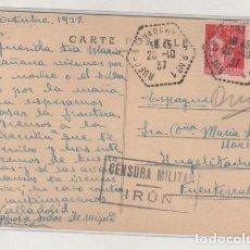 Sellos: CENSURA MILITAR IRUN. OCTUBRE DE 1937 GUERRA CIVIL SOBRE TARJETA POSTAL FRANCESA.. Lote 76072315