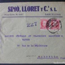 Sellos: SOBRE CON MEMBRETE -SIMÓ, LLORET Y CÍA S.L. (BARCELONA)- CENSURA REPUBLICANA. Lote 76185659