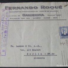 Sellos: SOBRE CON MEMBRETE -FERNANDO ROQUÉ T. INTERNACIONALES Y AGENTE DE ADUANAS (BARCELONA)-. Lote 76186111