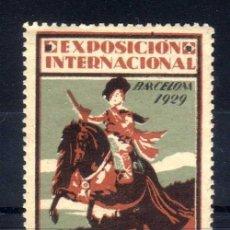 Sellos: VIÑETA EXPOSICION INTERNACIONAL BARCELONA 1929 - EL ARTE EN ESPAÑA - NUEVO**. Lote 76285331