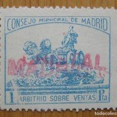 Sellos: MADRID . 1 PESETA . SELLO LOCAL NUEVO ** . NUMERACION AL DORSO. Lote 77472161