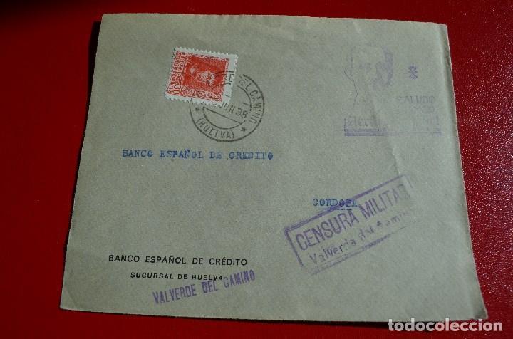 FRONTAL MATASELLO VALVERDE DEL CAMINO HUELVA A CORDOBA HISTORIA POSTAL MARCA CENSURA CENSURADA (Sellos - España - Guerra Civil - De 1.936 a 1.939 - Cartas)