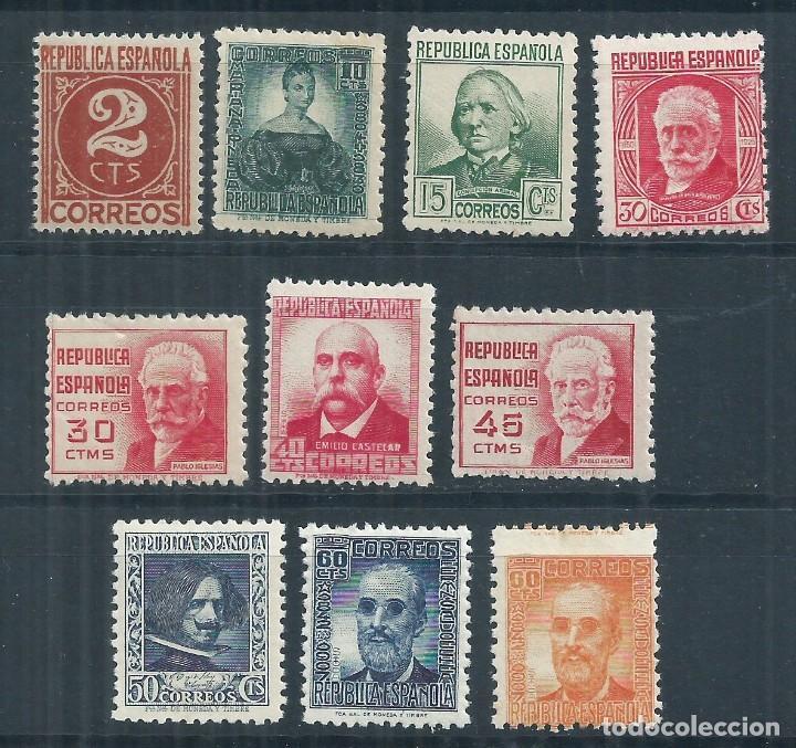 R15/ ESPAÑA NUEVOS ** 1936-38, EDF. 731/40, CAT. 42,00€, CIFRA Y PERSONAJES (Sellos - España - Guerra Civil - De 1.936 a 1.939 - Nuevos)