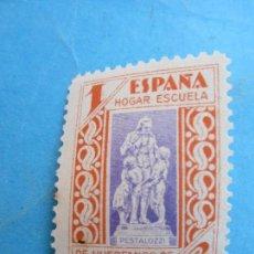Sellos: 1 PESETA ESPAÑA , HOGAR ESCUELA DE HUERFANOS DE CORREOS , PESTALOZZI 1937. Lote 79211709