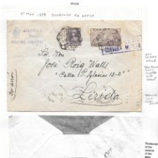 Sellos: EDIFIL 858 + 883. SOBRE CIRCULADO DE SEVILLA A LERIDA CON TRANSITO POR ZARAGOZA. 5-MAY-1939.. Lote 79527365