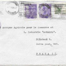 Sellos: EDIFIL 867 + 819. SOBRE CIRCULADO DE MADRID A PRAGA. CENSURA MILITAR Y RODILLO DE LA ESTAFETA DE CA. Lote 79529161