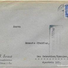 Sellos: GUERRA CIVIL 1938. DE LOBAU (ALEMANIA) A SAN SEBASTIAN. .. Lote 79542861