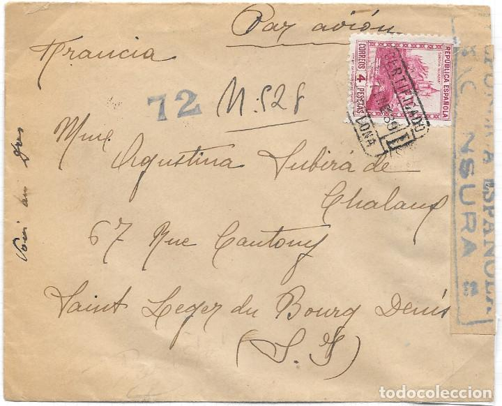 EDIFIL 771. SOBRE CERTIFICADO CIRCULADO POR AVION DE BARCELONA A FRANCIA. 17-ENE-1939 (Sellos - España - Guerra Civil - De 1.936 a 1.939 - Cartas)