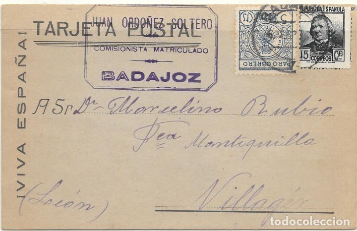 GUERRA CIVIL. DE BADAJOZ A VILLAGER (LEON) 6-FEB-37. (Sellos - España - Guerra Civil - De 1.936 a 1.939 - Cartas)