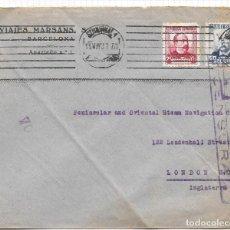 Sellos: GUERRA CIVIL 1937. EDIFIL 670 + 685. SOBRE DE BARCELONA A LONDRES.. Lote 79577949