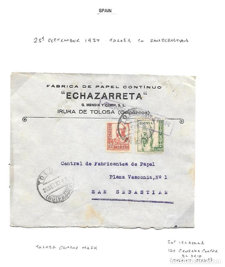 GUERRA CIVIL 1937. EDIFIL 830 + CRUZADA CONTRA EL FRIO Nº 11. DE TOLOSA A SAN SEBASTIAN (Sellos - España - Guerra Civil - De 1.936 a 1.939 - Cartas)