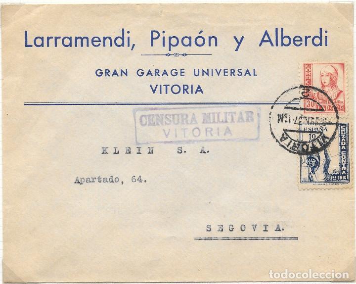 CRUZADA CONTRA EL FRIO Nº 9. DE VITORIA A SEGOVIA. GUERRA CIVIL. 1937 (Sellos - España - Guerra Civil - De 1.936 a 1.939 - Cartas)