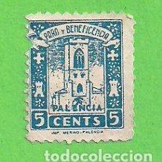 Sellos: BENEFICENCIA - PALENCIA 5 - PARO Y BENEFICENCIA - (1937).. Lote 79621585