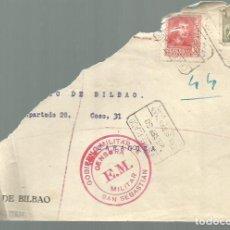 Sellos: FRONTAL. CENSURA MILITAR SAN SEBASTIAN , 26 SEPTIEMBRE 1938. Lote 79776169