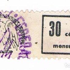 Sellos: VIÑETA FEDERACIÓN IBÉRICA DE JUVENTUDES LIBERTARIAS - CUOTA MENSUAL - GUERRA CIVIL. Lote 80831751