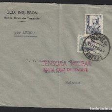 Sellos: CARTA POR AVIÓN 1938 CENSURA MILITAR TENERIFE (CANARIAS) DEST HOLANDA FRQ ISABEL Y LOCAL . Lote 81299284