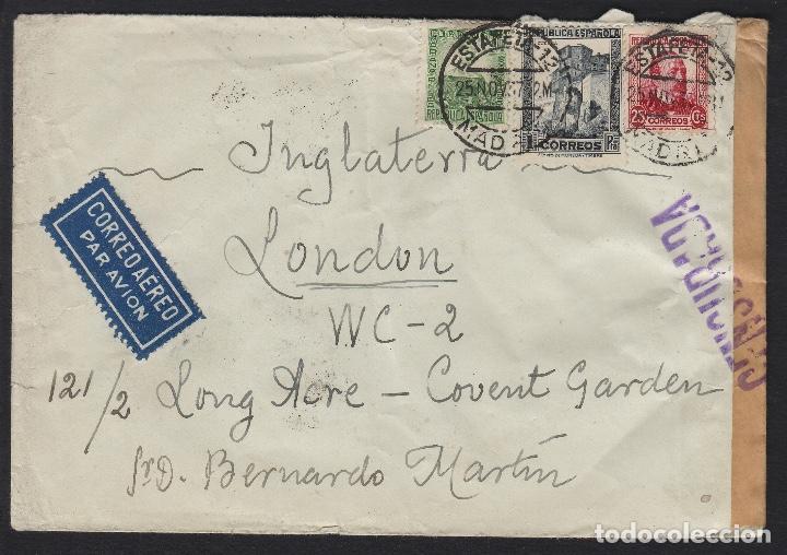 CARTA 1937 CENSURA DE MADRID A LONDRES . CORREO AÉREO POR AVIÓN (Sellos - España - Guerra Civil - De 1.936 a 1.939 - Cartas)