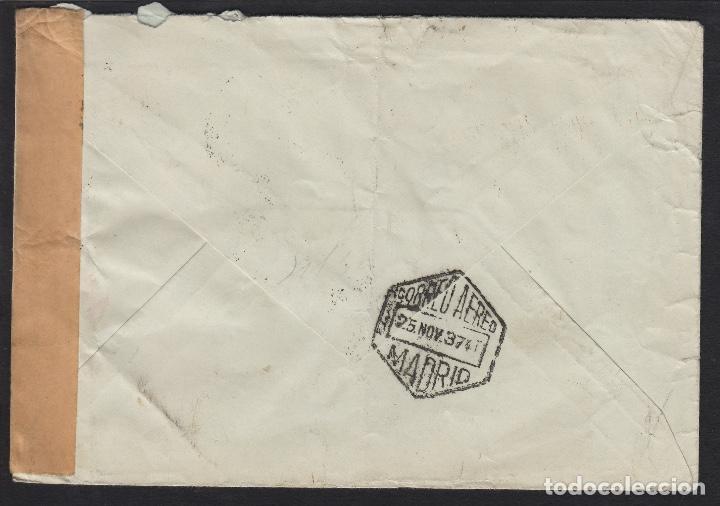 Sellos: carta 1937 CENSURA de MADRID A LONDRES . CORREO AÉREO POR AVIÓN - Foto 2 - 81299708