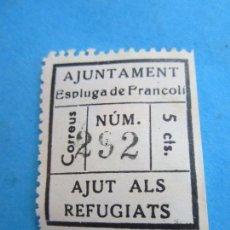 Sellos: AJUNTAMENT ESPLUGA DE FRANCOLI , 5 CTS , AJUT ALS REFUGIATS , . Lote 81573052