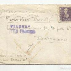 Sellos: CIRCULADA 1938 CON CENSURA MILITAR DE SEGOVIA A BARCELONA. Lote 82090388