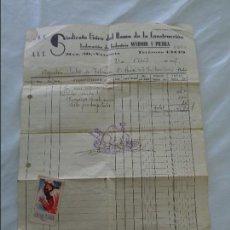Sellos: FACTURA CON SELLO DE AYUDAD A LOS HOSPITALES DE SANGRE Y CUÑO CNT - AIT - VALENCIA - ABRIL 1937. Lote 82199324