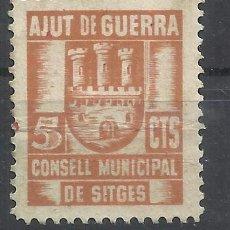 Sellos: CONSELL MUNICIPAL DE SITGES AJUT DE GUERRA 5 CTS NUEVO*. Lote 82367392