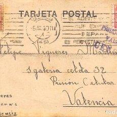 Sellos: 1940.-TARJETA POSTAL ENVIADA A LA CÁRCEL PRISIÓN CELULAR DE VALENCIA. MARCA ESPECIAL DE CENSURA. Lote 82834992