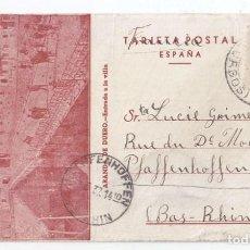 Sellos: RARA TARJETA POSTAL DE ARANDA DE DUERO. BURGOS A ALEMANIA. 1937. . Lote 83119004