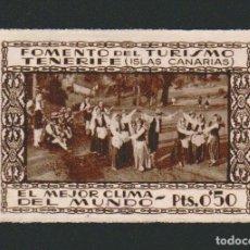 Sellos: VIÑETA.FOMENTO DEL TURISMO.TENERIFE ( ISLAS CANARIAS ).EL MEJOR CLIMA DEL MUNDO.0,50 CTS.. Lote 83425180