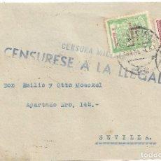 Sellos: FRONTAL ALGECIRAS CADIZ AZUL A SEVILLA RESTOS POSIBLE CIERRE PAPEL CENSURA SELLO PROVINCIAL. Lote 83703728