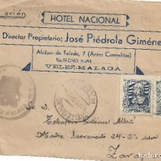 Sellos: FRONTAL CENSURA MILITAR VELEZ MALAGA A ZARAGOZA HOTEL NACIONAL FRNAQUEO POR AVION. Lote 83706608