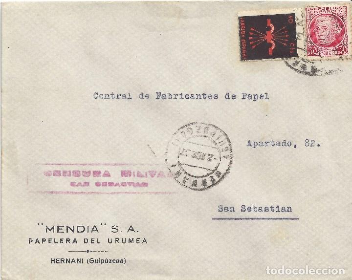 CARTA MATASELLOS HERNANI GUIPUZCOA CENSURA MILITAR SAN SEBASTIAN MATASELLO GUERRA CIVIL (Sellos - España - Guerra Civil - De 1.936 a 1.939 - Cartas)