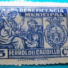 Sellos: SELLO . BENEFICENCIA MUNICIPAL FERROL DEL CAUDILLO - 10 CTMS. Lote 84382372
