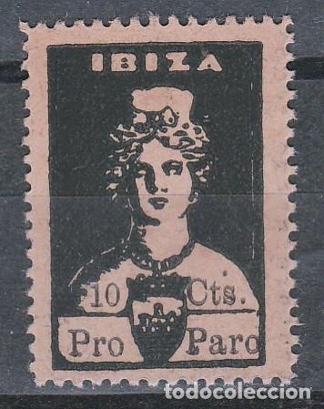 IBIZA. DIOSA TANIT . PRO PARO.SELLOS LOCALES.GUERRA CIVIL-.10 CTS. NEGRO **,MNH.(17-681) (Sellos - España - Guerra Civil - Locales - Nuevos)