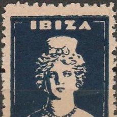 Sellos: IBIZA. PRO PARO .DIOSA TANIT.GUERRA CIVIL.SELLO LOCAL AZUL ,5CTS. LETRAS AL DORSO .**.MNH (17-684). Lote 85111752