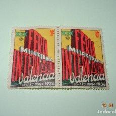 Sellos: ANTIGUAS VIÑETAS DE LA XIX FERIA MUESTRARIO INTERNACIONAL DE VALENCIA EN MAYO DE 1936. Lote 169627150