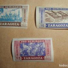 Sellos: PRO-SEMINARIO ZARAGOZA - LOTE 3 SELLOS - 5 10 25 CTS. Lote 85963644