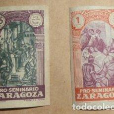 Sellos: PRO-SEMINARIO ZARAGOZA - LOTE 2 SELLOS - 25 CTS Y 1 PTA. Lote 85963648
