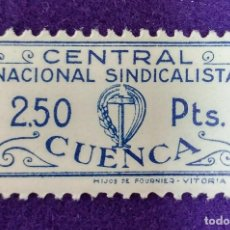 Sellos: VIÑETA SIN USAR. C.N.S. CUENCA. CENTRAL NACIONAL SINDICALISTA 2,50 PTS.FOURNIER.VIÑETAS-SELLO-SELLOS. Lote 86554112