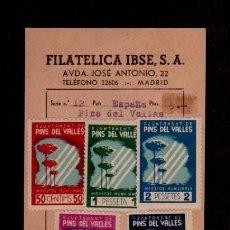Sellos: F2-19 GUERRA CIVIL PINS DEL VALLES FESOFI Nº 2 AL 6 ANTIGUA FICHA DE LA FILATELIA IBSE, S.A. DE MA. Lote 87026768