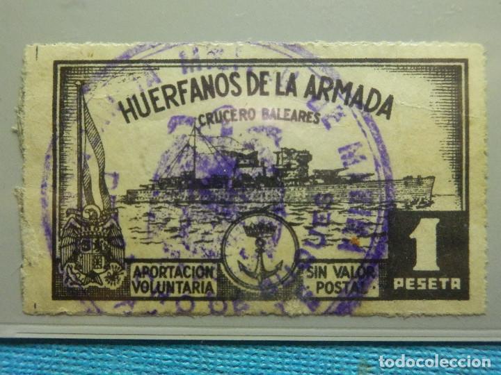 SELLO - ESPAÑA - BENEFICENCIA - HUERFANOS DE LA ARMADA - 1 PTA . PESETA - (Sellos - España - Guerra Civil - Viñetas - Usados)
